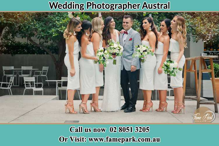 Photo of the Bride and the Groom with the bridesmaids Austral NSW 2179