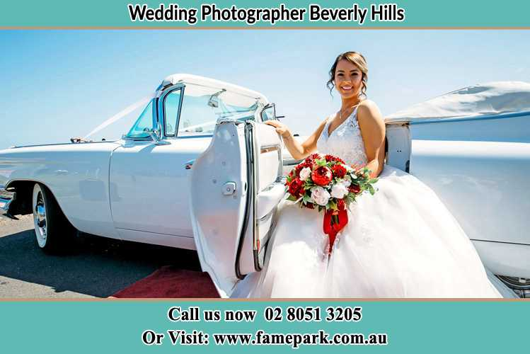 Photo of the Bride outside the bridal car Beverly Hills NSW 2209