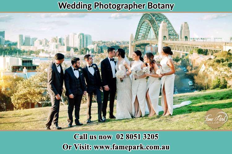 Photo of the Groom and the Bride with the entourage near the bridge Botany NSW 2019