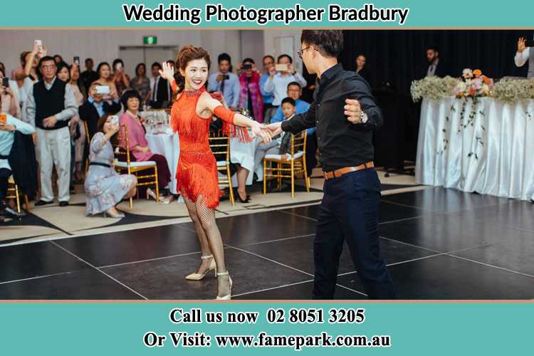 Photo of the Bride and the Groom dancing on the dance floor Bradbury NSW 2560