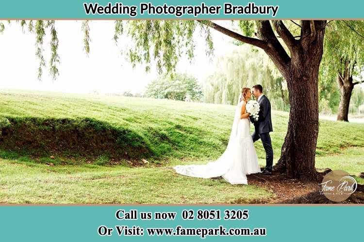 Photo of the Bride and the Groom kissing under the tree Bradbury NSW 2560