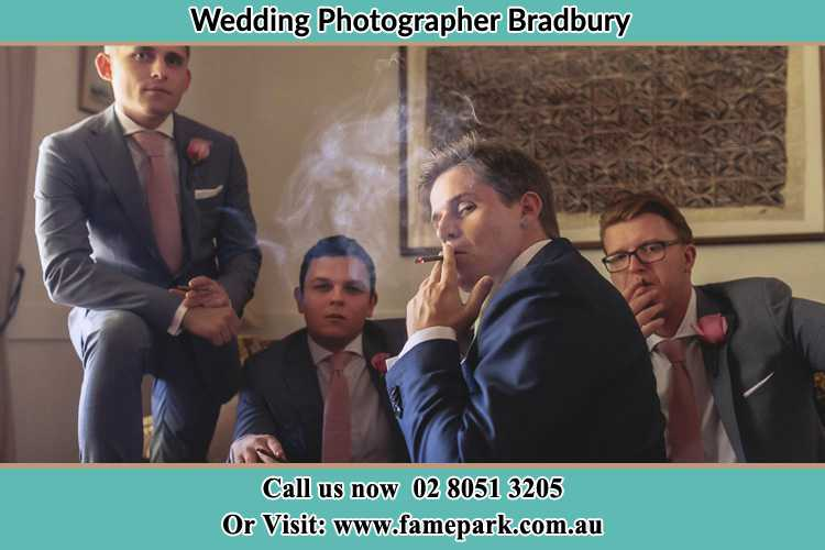 Photo of the Groom and the groomsmen relaxing Bradbury NSW 2560