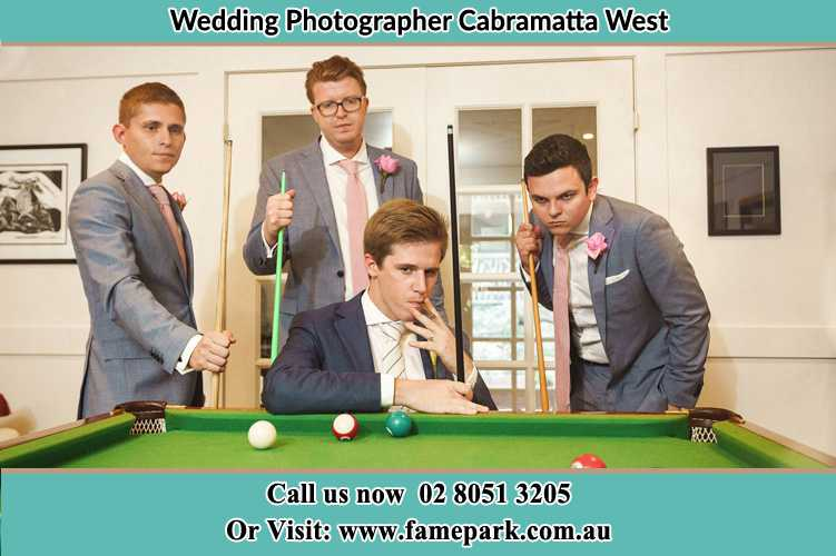 Photo of the Groom and the groomsmen playing billiard Cabramatta West NSW 2166