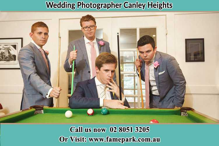 Photo of the Groom and the groomsmen playing billiard Canley Heights NSW 2166