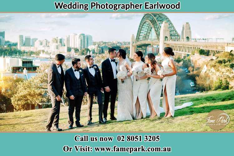 Photo of the Groom and the Bride with the entourage near the bridge Earlwood NSW 2206
