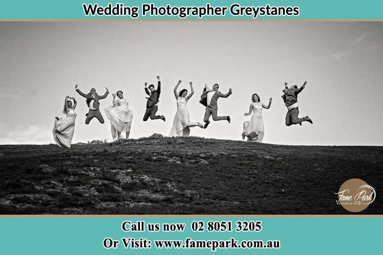 Jump shot photo of the Groom and the Bride with the entourage Greystanes NSW 2145