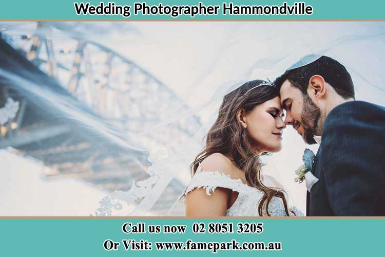 Close up photo of the Bride and the Groom under the bridge Hammondville NSW 2170