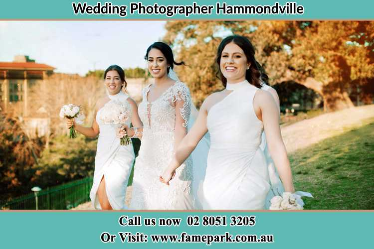 Photo of the Bride and the bridesmaids walking Hammondville NSW 2170