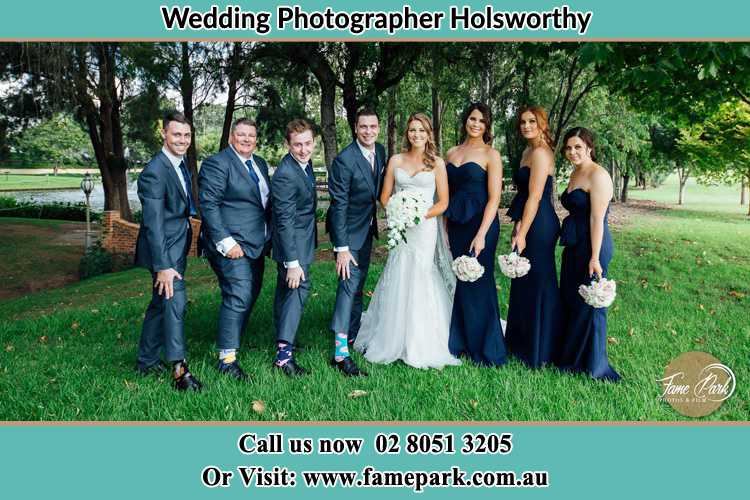 The Bride and the Groom with their entourage pose for the camera Holsworthy NSW 2173