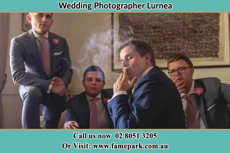 Photo of the Groom and the groomsmen relaxing Lurnea NSW 2170