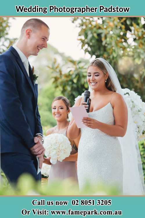 Photo of the Bride testifying love to the Groom Padstow NSW 2211